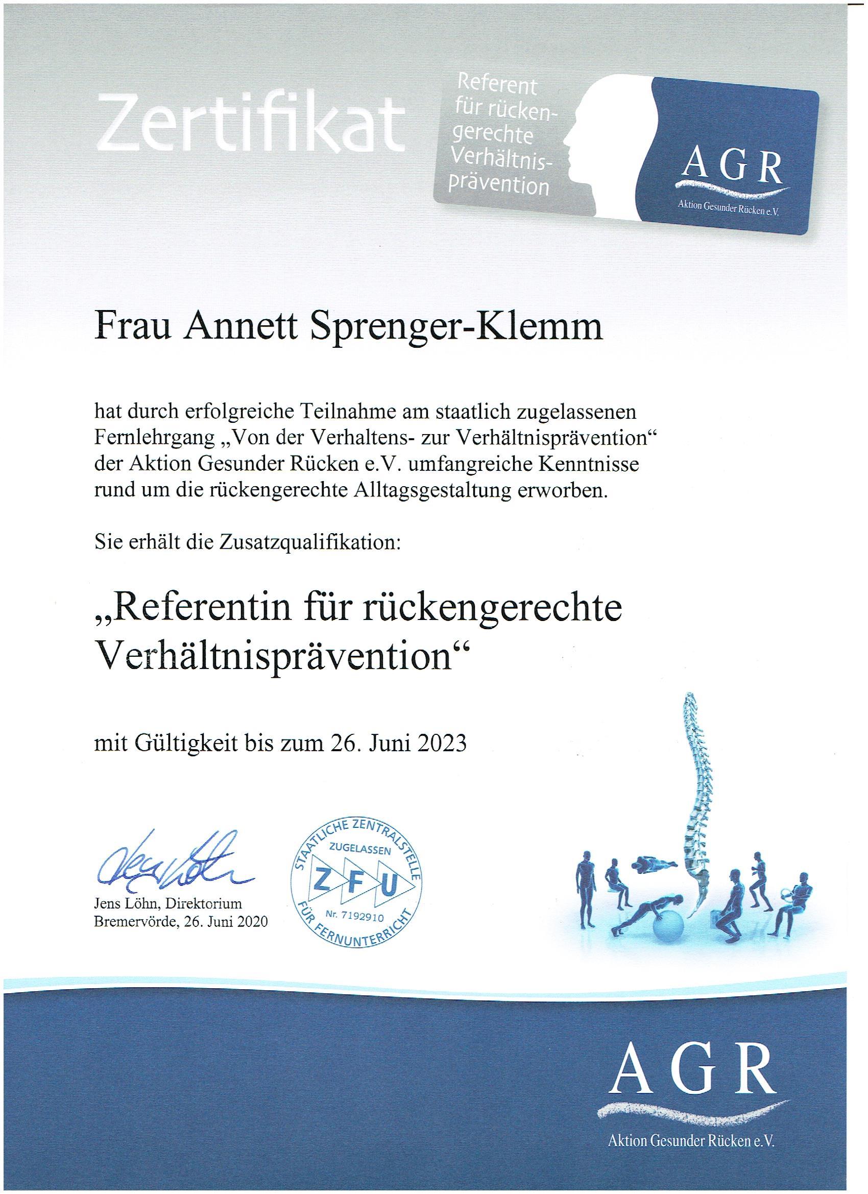 AGR Zertifikat